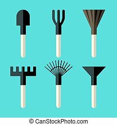 Various gardening tools set: spade, ripper, broom, rake, fan...