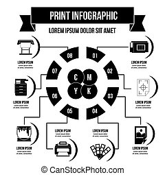 Print process infographic concept, simple style - Print...