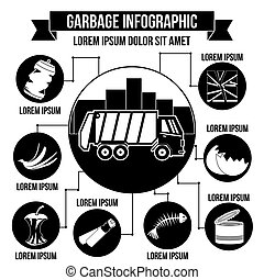 Garbage infographic concept, simple style