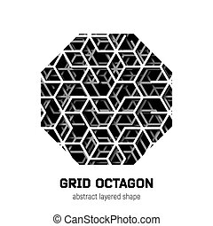 Abstract octagon shape with layered lines triangular grid...