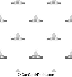 White house pattern seamless background in flat style repeat...
