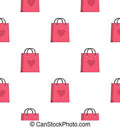 Pink shopping bag with heart pattern seamless