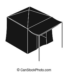 Tent with awning.Tent single icon in black style...