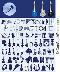 Icons of musical instruments. A vector illustration