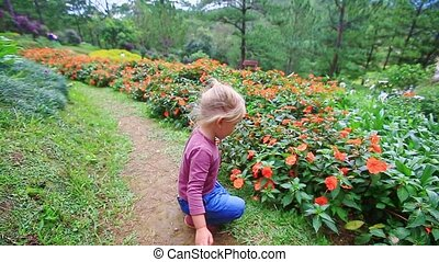 Little Girl Squats Smells Flowers on Ground Path in Park