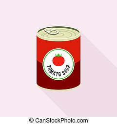Tomato soup in canned, flat design vector with long shadow