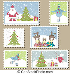 Large Set of Christmas Postage - Large Set of colorful...