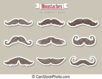 Moustaches in hipster style for party or photosession.