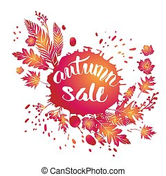 Fall leaves sale template for design banner,ticket, leaflet,...