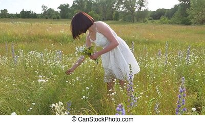 The girl Funny in the field collects wildflowers. Girl...