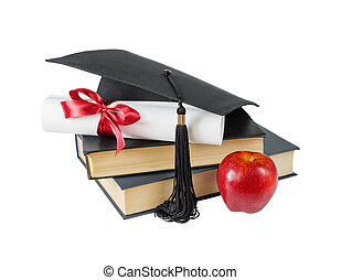 Graduate hat, books, apple and scroll - Concept of...