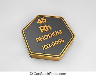 Rhodium - Rh - chemical element periodic table hexagonal...