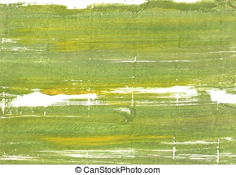 Moss green abstract watercolor background - Hand-drawn...