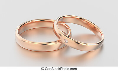 3D illustration classic rose gold rings with diamond