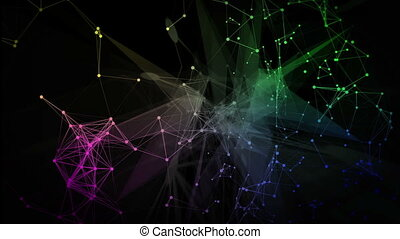 3d animation of the digital network lines and dots. Business concept.