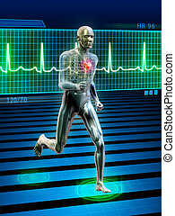 Running - Conceptual image of a running man and its heart...