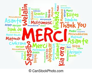 Merci (Thank You in French) Word Cloud background, all...