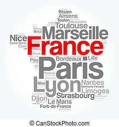 List of cities and towns in FRANCE, map word cloud collage,...