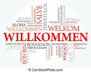 Willkommen, Welcome in German, word cloud in different...