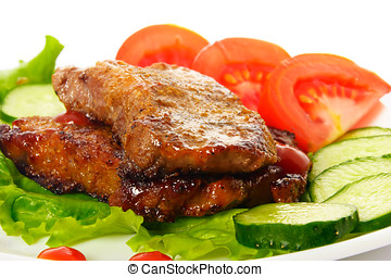 Fried meat - Fried beef meat with vegetable garnish