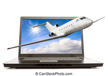 Modern notebook computer with airliner flying out from...