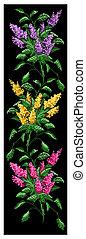 Color image bouquet of flowers. Border pattern. - Color...