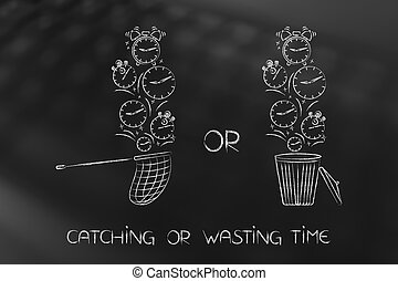 net collecting falling clocks and others going in the bin, catching or wasting time