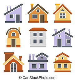 Houses Set. Flat style design. Vector