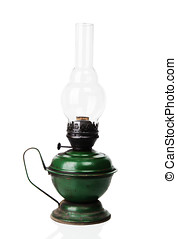 Old kerosene lamp - Old kerosene green lamp isolated over...