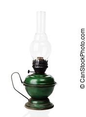 Old kerosene lamp - Old kerosene green lamp isolated over...