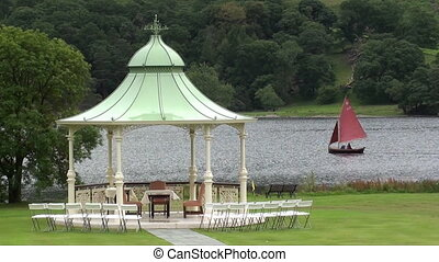 bandstand and boats - bandstand set up for a wedding with...