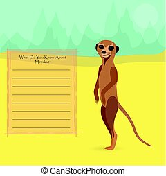 African Meerkat Against Symplistic Nature Background and...