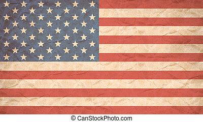 USA flag print on Grunge Poster Paper. - USA flag print on...