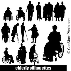 elderly silhouettes set