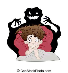Frightened Boy in bed and the creepy shadow monster. Fear of the dark, nightmare. Vector illustration, isolated on white.