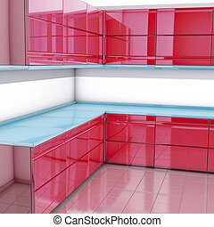 Modern modules red kitchen - 3D rendering, modern modules...