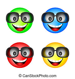 smiley with sunglasses in different color illustration
