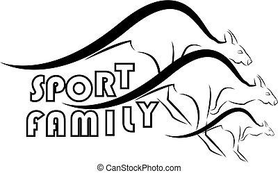 Sports family symbols from kangaroos
