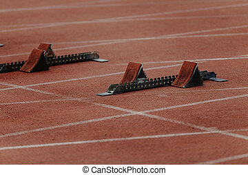 starting blocks on start line
