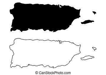 Puerto Rico map vector illustration, scribble sketch Puerto...