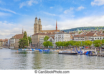 Grossmunster and Limmat, Zuerich - Minster Grossmunster in...