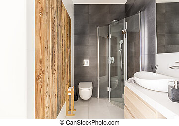 Bathroom design with raw wood