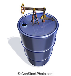 Oil tank with well - 3d illustration, Oil tank with well