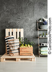 Small pantry in loft - Small pantry with wooden pallets and...