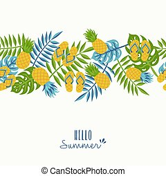 Hello summer tropical pineapple pattern design