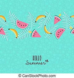 Hello summer tropical fruit pattern greeting card