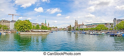 Zurich panorama from Quaibrucke, river Limmat in front -...