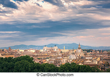 Aerial wonderful view of Rome at sunset, Italy