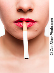 red lips with a cigarette - Woman's face with red lips and a...