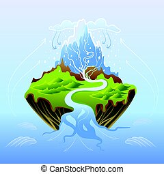 Water cycle in nature, vector illustration.